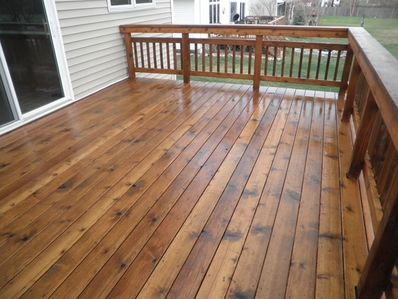Deck staining by RMS Painting Inc.